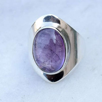 Amethyst ring, silver ring, stone ring, silver Amethyst ring, 92.5 sterling silver, Amethyst Silver Ring,  RNSLAM206