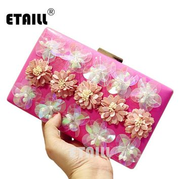 ETAILL The Chain Women Handbags Appliques Pattern Flowers Wedding Dinner Bag Evening Bags Hot Selling Purses Clutch Box Package