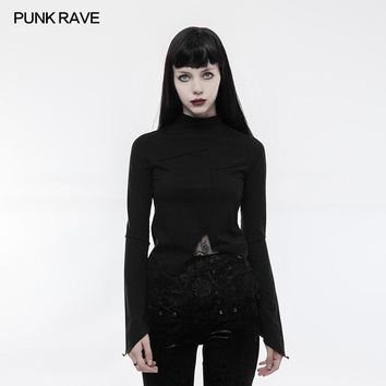 PUNK RAVE Women Halloween Christmas Goth Lace Irregular Lace Hollow-out  Long Sleeve T-shirt