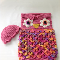 Baby Cocoon - Baby Owl Cocoon with Beanie - Crochet - Baby Sack - Baby Bunting - Photography Prop - Newborn - Pink Cocoon - Baby Shower Gift