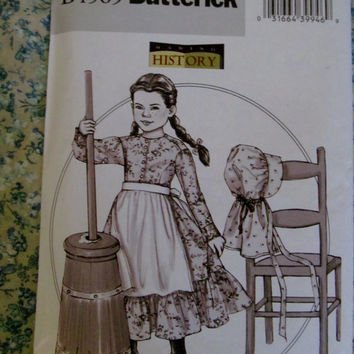 UnCut Butterick Sewing Pattern, 4569! 2 sizes to choose from, Children's 4-5-6 or 7-8-10, Historical Costumes, Prairie Dresses, Summer