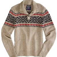AE FAIR ISLE MOCK NECK SWEATER