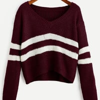 Burgundy Striped V Neck Crop Sweater