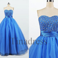 Custom Blue Beaded Long Prom Dresses Evening Dresses Party Dresses Homecoming Dress Ball Gowns Cocktail Dresses Wedding Party Dresses