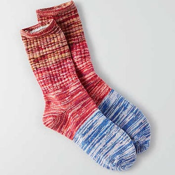 AEO Colorblock Crew Socks, Red