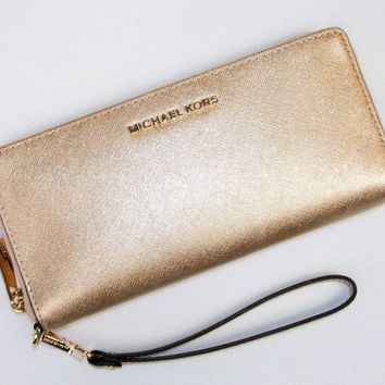 NWT Large Michael Kors Gold Saffiano Leather Continental Wallet Wristlet Clutch