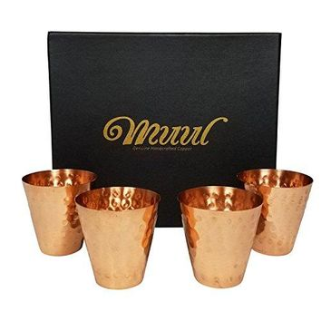 Moscow Mule Copper Shot Glasses Set Of 4  100 Pure Copper Handmade Hammered Shot Glasses in Gift boxWith Food Safe Protection Lining  Includes 4  Copper Shot Glasses  By MUUL