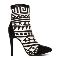 African Tribal Pointy Toe Bootie