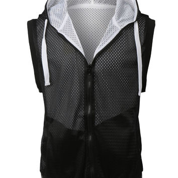 LE3NO Mens Active Mesh Reversible  Hoodie Vest (CLEARANCE)