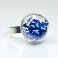 Royal blue big glitter in round blown glass silver by thestudio8