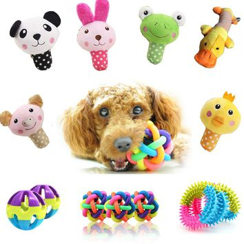 11 Styles Cute Animal Dog Toys Pet Puppy Chew Squeaker Squeak Plush Sound Toy For Small Dogs Toy Ball Bell Cats Pet Products Hot