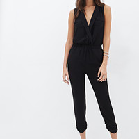 LOVE 21 Surplice Collar Jumpsuit Black