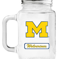 Michigan Wolverines Mason Jar Glass With Lid