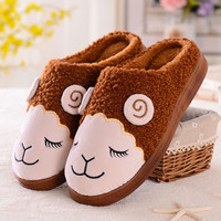 Cartoon Sheep Pattern Indoors Anti-Slip Winter Slippers