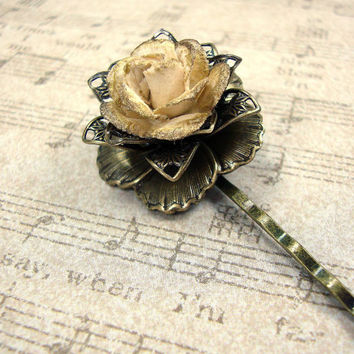 Vintage Style Floral Bobby Pin - Neo Victorian Antiqued Brass Filigree - Metallic Bronze Hair Pin - Gold Flower