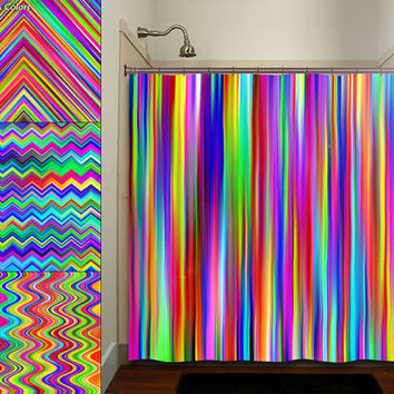 colorful rainbow multicolor chevron stripe shower curtain bathroom decor fabric kids bath white black custom duvet cover rug mat window