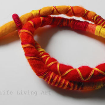Felted Art Atebas Felt Dreadlock Dread Fall Hair Tie Dread Wrap Soft Felt Jewelry One of a kind
