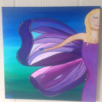 New Wings 12x12 abstract acrylic energy art new age fantasy FREE shipping