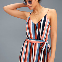 Angelene Blue and Orange Striped Sleeveless Romper