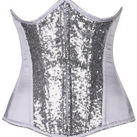 Daisy Corsets Top Drawer White/Silver Sequin Steel Boned Under Bust Corset