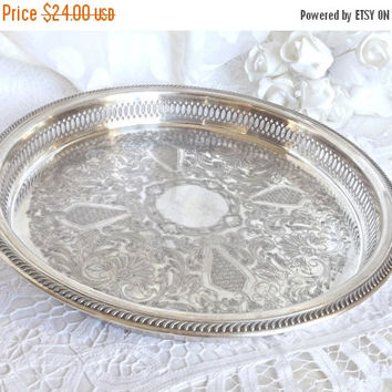 FALL SALE Silver Plated Vanity Tray, Silver Service Tray, Boudoir Decor, French Farmhouse, Cottage Chic Decor, Silver Tray, Shabby Chic Deco