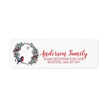 Pine Wreath Bird Christmas Monogram Address Label