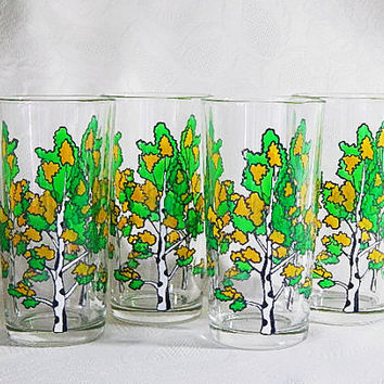 Hand Painted Glasses, Birch Water Glasses, Goblets Water Glasses Set of 4 Glass of Juice Glasses With Drinking Glasses Drinkware