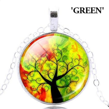 Tree of Life Pendant Necklace. Various color Tree of Life pendant on a silver necklace. Life tree pendant necklace