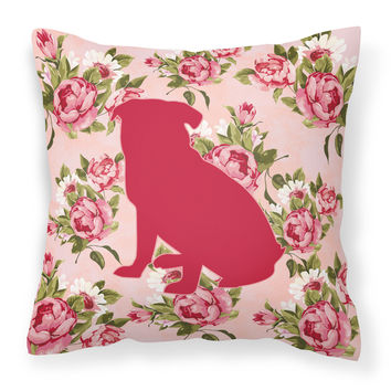 Pug Shabby Chic Pink Roses  Fabric Decorative Pillow BB1084-RS-PK-PW1414