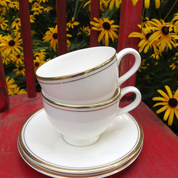 Vintage Tea Cup and Saucer Set, 2 Ivory Tea Cups with Gold Band, Royal Doulton Fine China, Pattern Janet H 5208