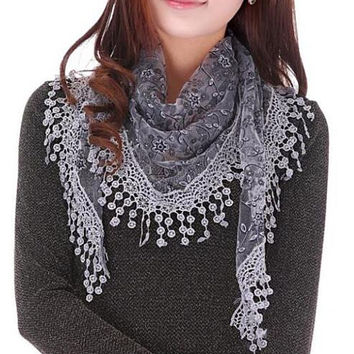 Women Sheer Lace Crochet Trim Shawl Scarf