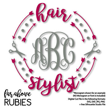 Hair Stylist Scissors Monogram Wreath Arrows (monogram NOT included) - SVG, DXF, png, jpg digital cut file for Silhouette or Cricut
