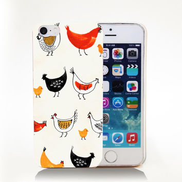 CHICKEN_FARM_PATTERN Hard Transparent Cover Case for iPhone 4 4s 5 5s 5c 6 6s Phone Cases Protect