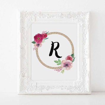 Custom nursery R baby name initials Nursery decor Nursery Letter nursery initials nursery name personalized initials baby name baby girl art
