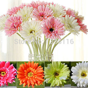 10pcs/lot Artificial Flowers Silk Flowers Artificial Gerberas Flowers for Home Decoration Wedding Bouquets (no vase)