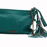 Catina Leather Cosmetic Bag and Smartphone Wristlet - Emerald Turquoise