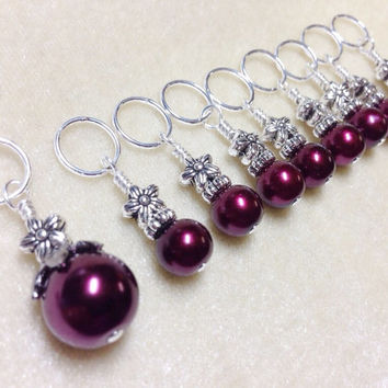 Stitch Markers, Wine Pearls and Flowers, Snag Free Beaded Knitting Stitch Marker Set, Gift for Knitters, Knitting Tool, Supplies,