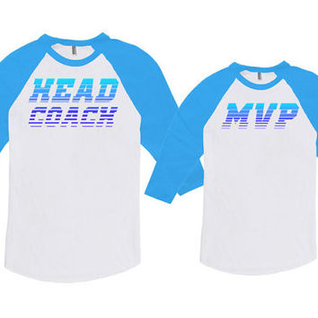 Father Daughter Matching Shirts Matching Father Son Shirts Dad Gifts Head Coach And MVP Bodysuit American Apparel Unisex Raglan MAT-705-706