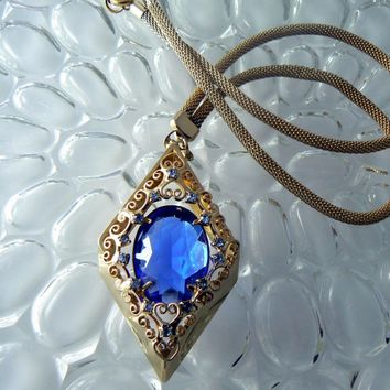 Vintage Juliana D & E Blue Pendant Necklace Book Piece