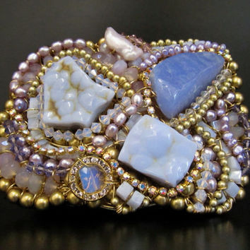 """Hand Wired Artisan Accessories by Sharona Nissan -  High End Belt Buckle with Lavender Semi precious Stones """"The Alien"""""""
