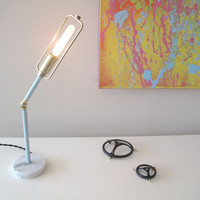 Marble, Brass and Light Blue Flex Desk Lamp