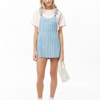 Striped Chambray Mini Overall Dress