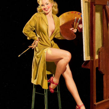 Pin-Up Girl Wall Decal Poster Sticker - Pin-up with a Palette, Liberty Belles Series - Blonde Pinup Pin Up