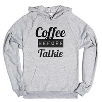 coffee before talkie hoodie-Unisex Heather Grey Hoodie