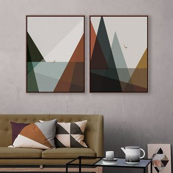 Modern Nordic Abstract Landscape Mountain Sea Vintage Retro Print Poster Wall Art Picture Living Room Canvas Painting Home Deco