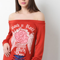 Off The Shoulder Slashed Rock n Roll Top