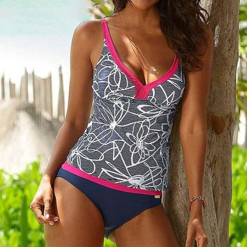 Flower Outline Design Floral Two Piece Tankini Women Swimwear Bathing Suit Swimsuits
