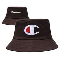 Champion Summer Cute Embroidery Sun Hat Fisherman Hat Cap Coffee