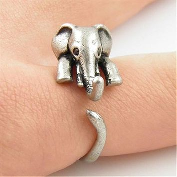 Elephant Animal Wrap Rings for Women and Girls Cute