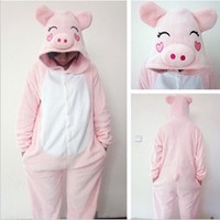 New Winter Kids' Cartoon Sleepwear Cute Onesuits Animal Piece Pajamas Pink Pig Sleepwear With Hat (M)